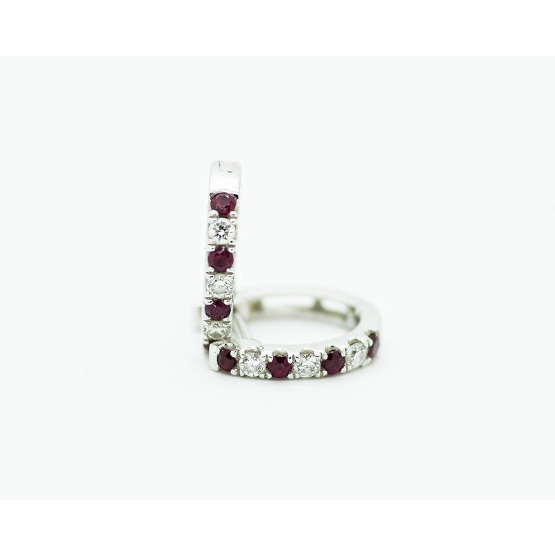 Jewelry Couture Exclusives Petite Diamond and Ruby Huggie Hoops