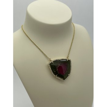 Diamond and Watermelon Tourmaline Necklace