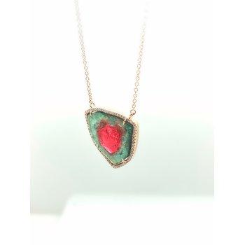 Diamond and Watermelon Tourmaline Necklace