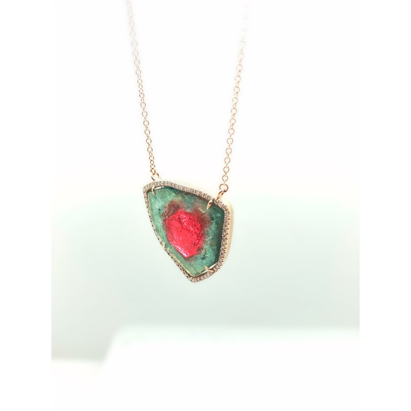 Jewelry Couture Exclusives Diamond and Watermelon Tourmaline Necklace