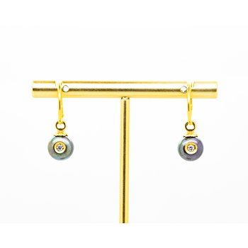 Freshwater Pearl and Diamond Drop Earrings