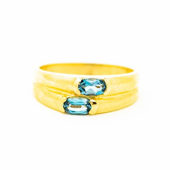 Twin Blue Topaz Ring