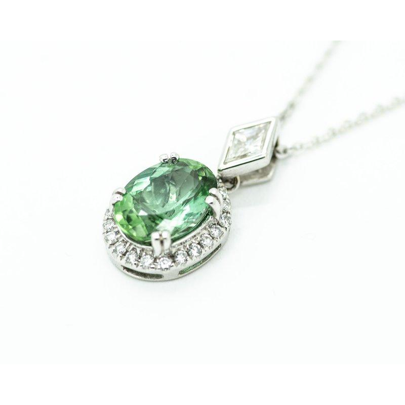 Jewelry Couture Exclusives Green Tourmaline Kite Diamond Pendant