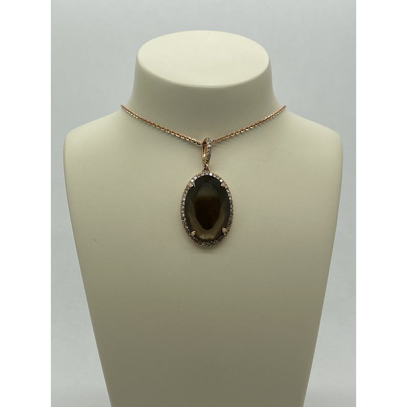 Jewelry Couture Exclusives Oval Smoky Quartz and Diamond Pendant