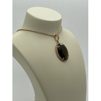 Oval Smoky Quartz and Diamond Pendant