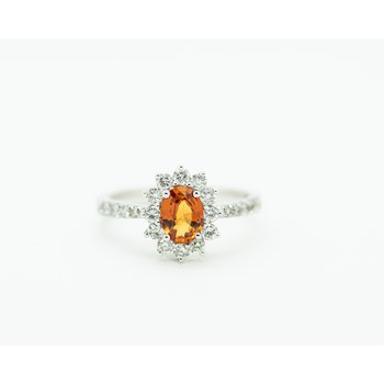 Orange Sapphire Diamond Starburst Engagement Ring