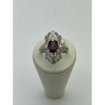 Central Garnet with Diamond Accent Ring