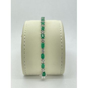 Emerald and Topaz White Gold Bracelet
