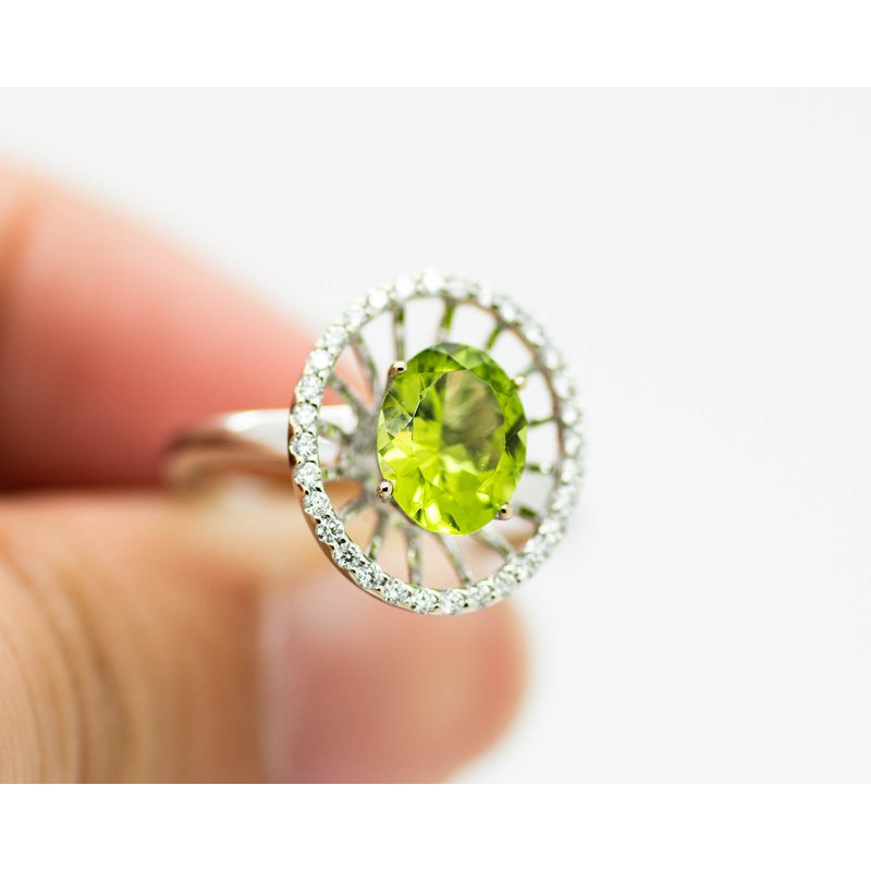 Jewelry Couture Exclusives Statement Halo 14k White gold Peridot Ring