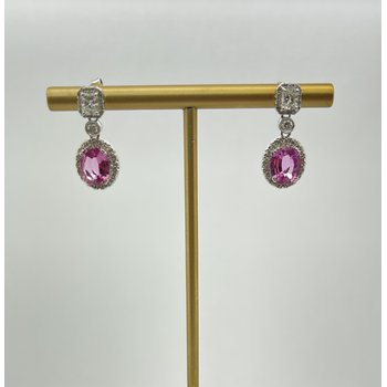 Pink Sapphire and Diamond Earrings