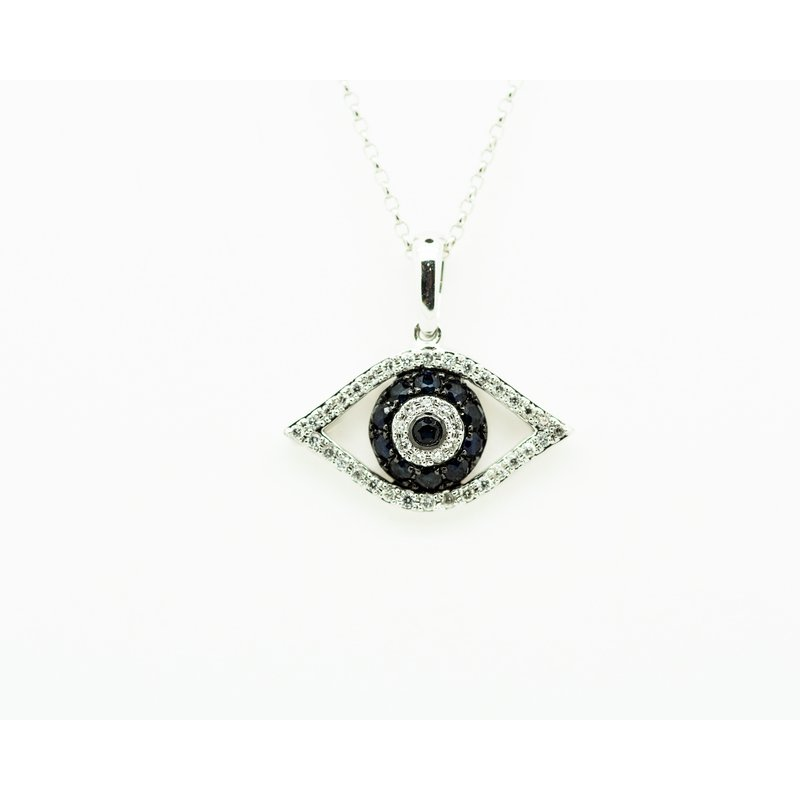 Jewelry Couture Exclusives Diamond and Sapphire Evil Eye Necklace