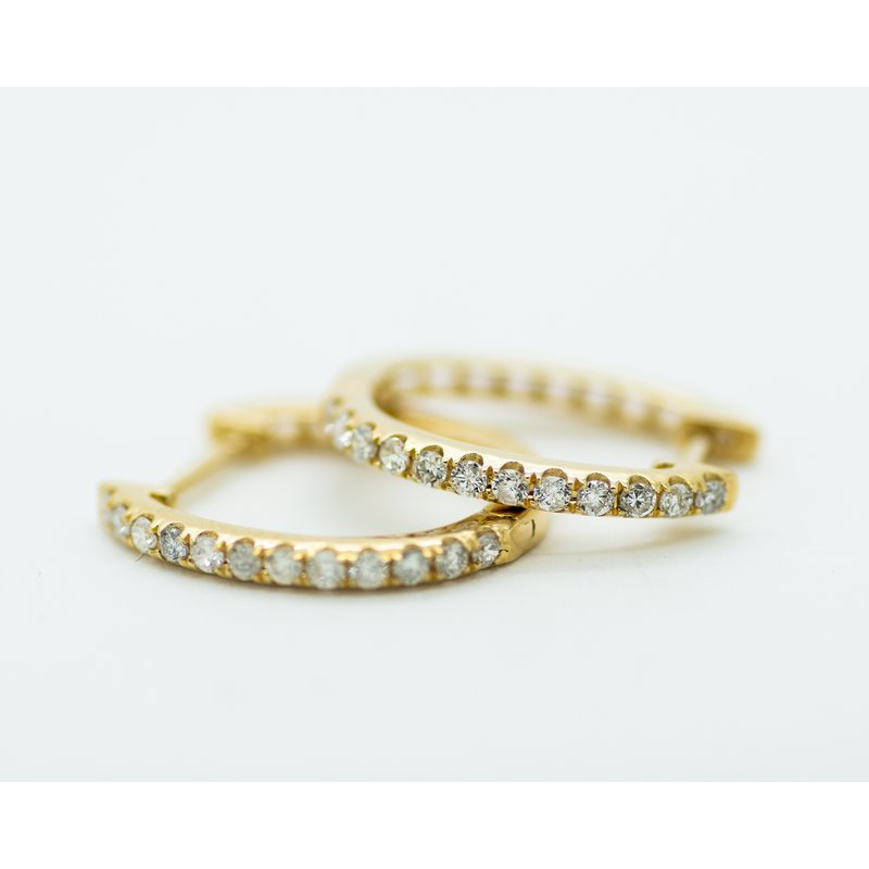 Jewelry Couture Exclusives 14k Yellow Gold and Diamond Petite Hoops