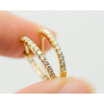 14k Yellow Gold and Diamond Petite Hoops
