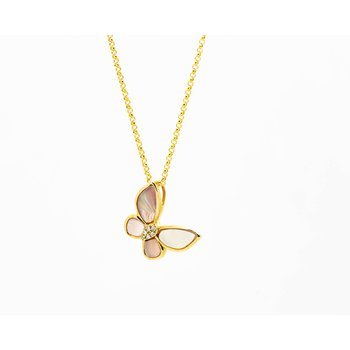 14k Rose Mother Of Pearl Butterfly Necklace