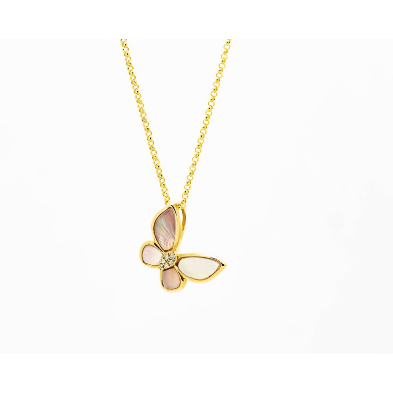 Jewelry Couture Exclusives 14k Rose Mother Of Pearl Butterfly Necklace