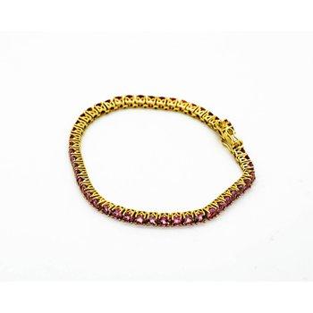 14k Yellow Gold Pink Tourmaline Tennis Bracelet