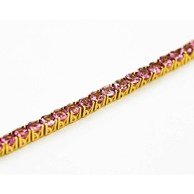 Jewelry Couture Exclusives 14k Yellow Gold Pink Tourmaline Tennis Bracelet