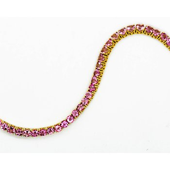 14k Yellow Gold Pink Tourmaline Tennis Bracelet