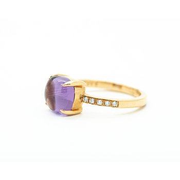 Cushion Cabochon Amethyst Diamond Ring