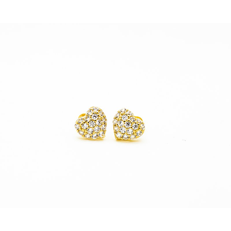 Jewelry Couture Exclusives 14k Yellow Gold Heart Sparkle Studs