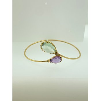 Green and Purple Amethyst Bangle