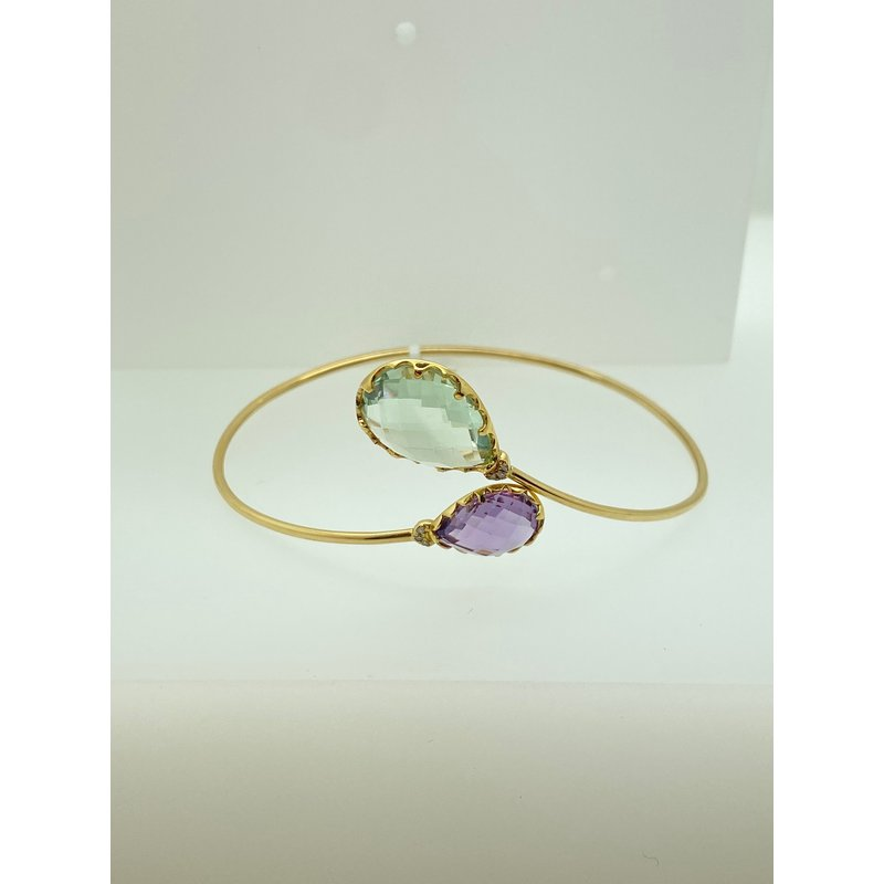 Jewelry Couture Exclusives Green and Purple Amethyst Bangle