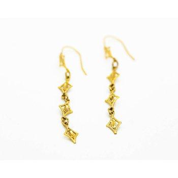 Twinkle Detail Drop 14k Gold Earrings