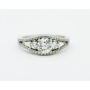 Art Deco Signet Diamond Engagement Ring