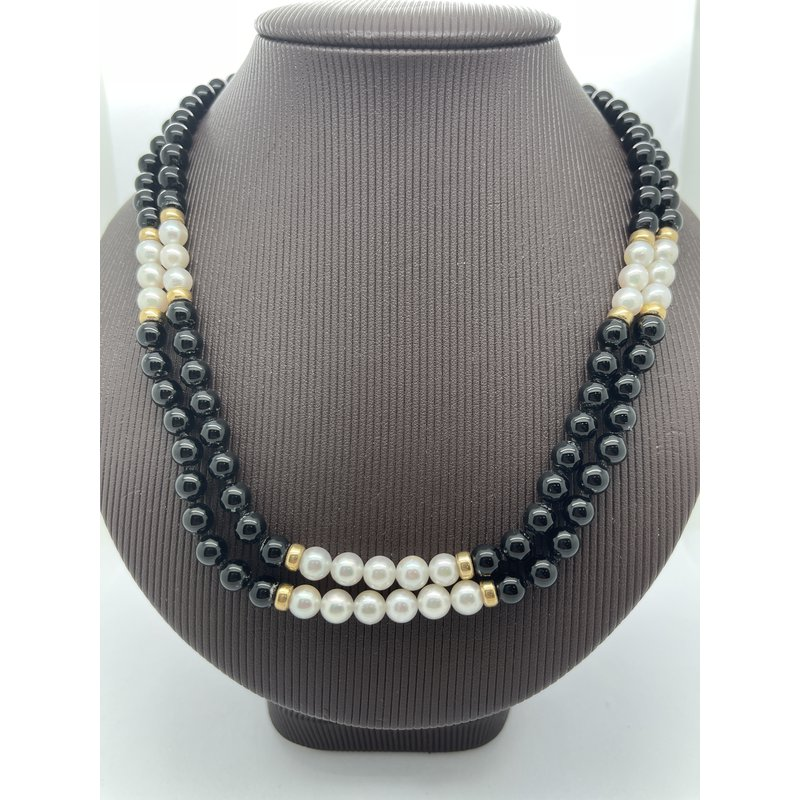 Jewelry Couture Exclusives Black Agate and Pearl Necklace