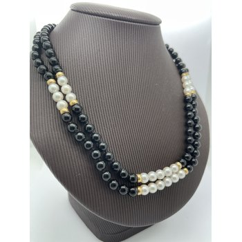 Black Agate and Pearl Necklace