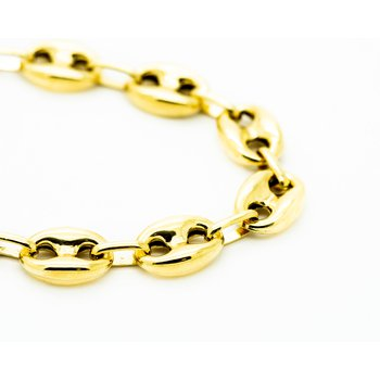 Rounded Chain Link 14k Yellow Gold Bracelet