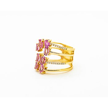 Stacked Pink Sapphire 14k Gold Ring
