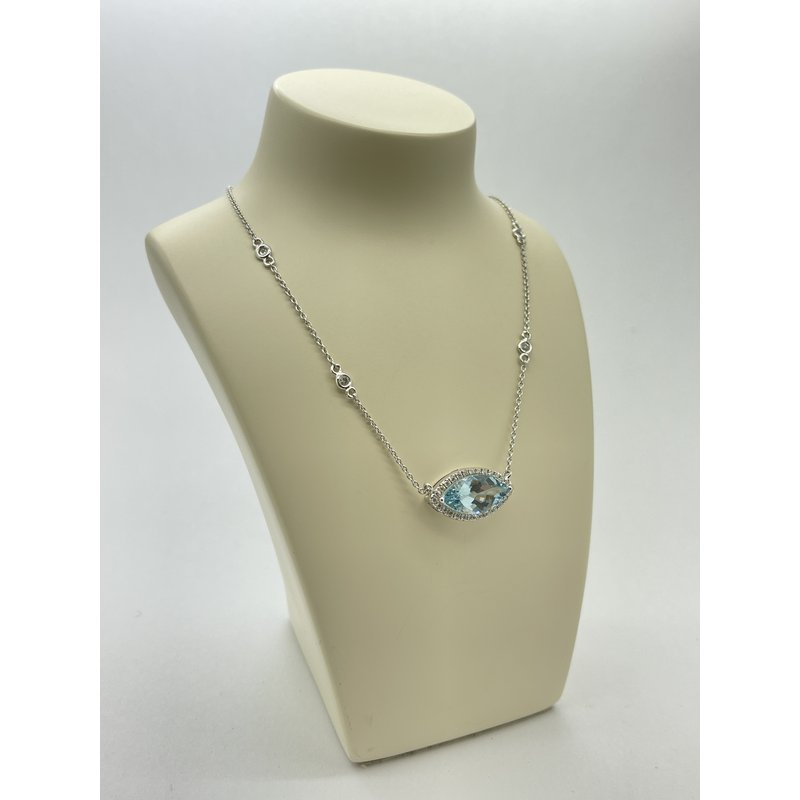 Jewelry Couture Exclusives Aquamarine and Diamond on White Gold Pendant Necklace
