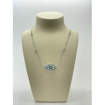 Aquamarine and Diamond on White Gold Pendant Necklace