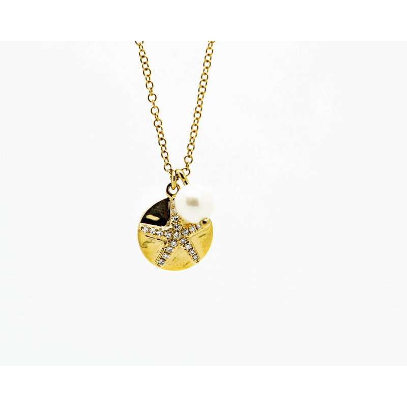 Jewelry Couture Exclusives 14k Gold Sand Dollar and Pearl Necklace