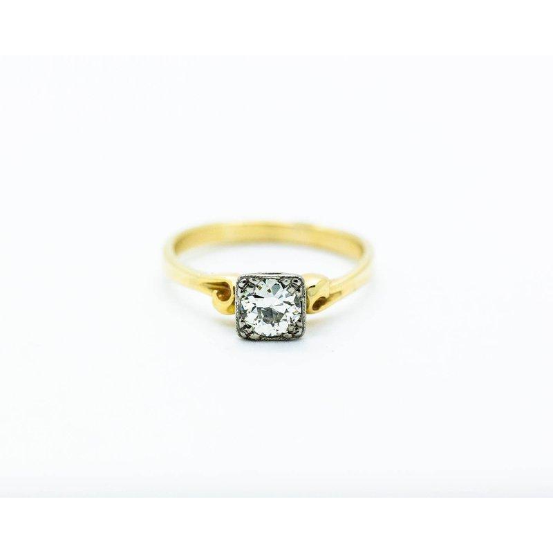 Estate Jewelry Mixed Metal 0.7ct Diamond Engagement Ring
