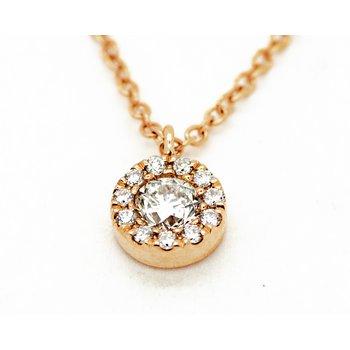 Rose Gold Diamond Halo Necklace