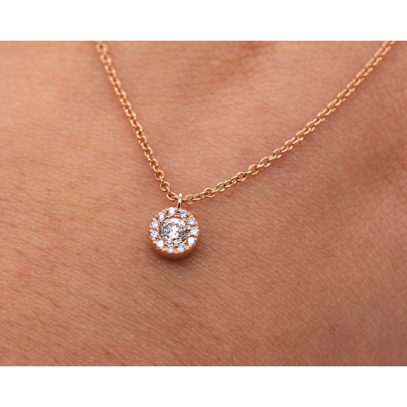 Jewelry Couture Exclusives Rose Gold Diamond Halo Necklace