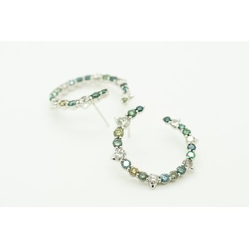 Earth Tone Colored Diamond Hoops