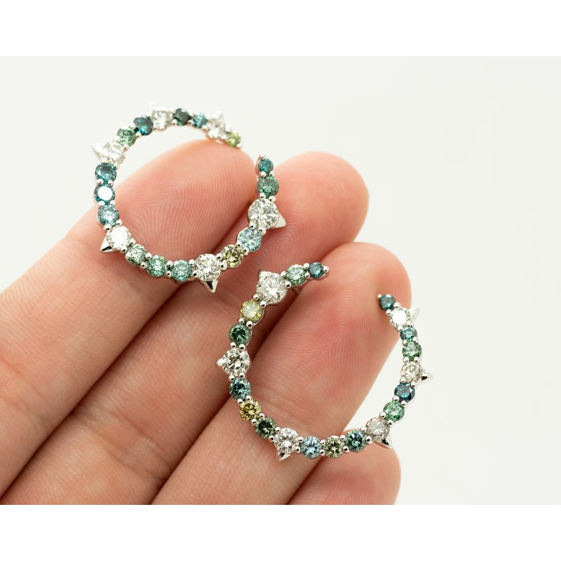 Jewelry Couture Exclusives Earth Tone Colored Diamond Hoops