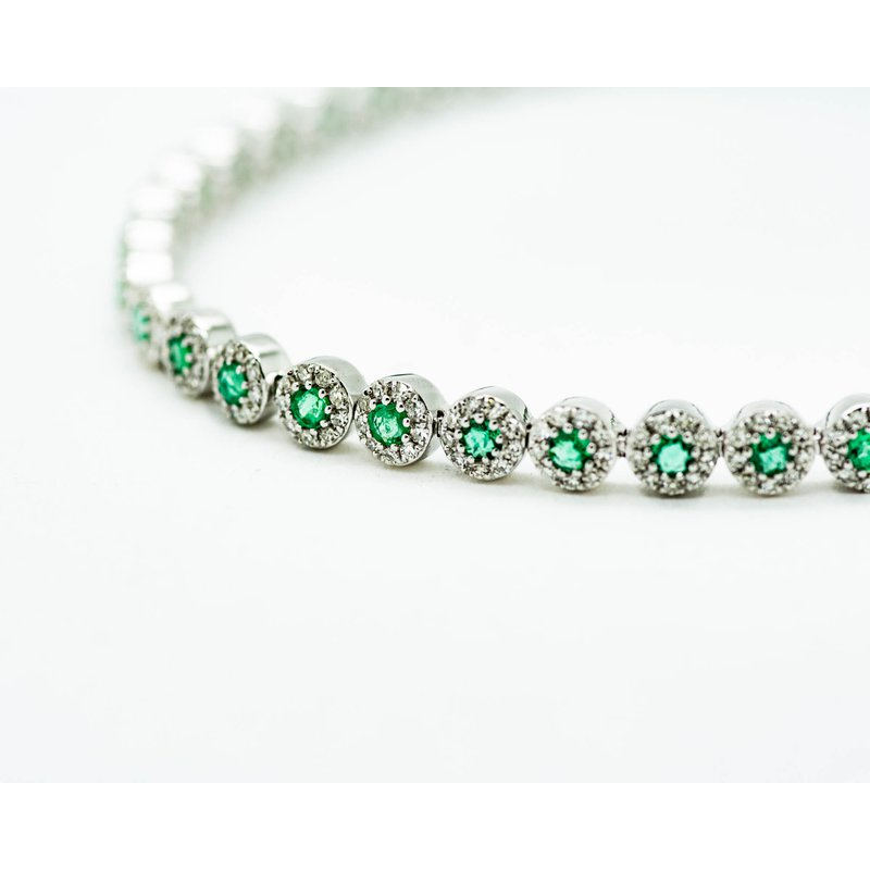 Jewelry Couture Exclusives Emerald and Diamond Tennis Bracelet