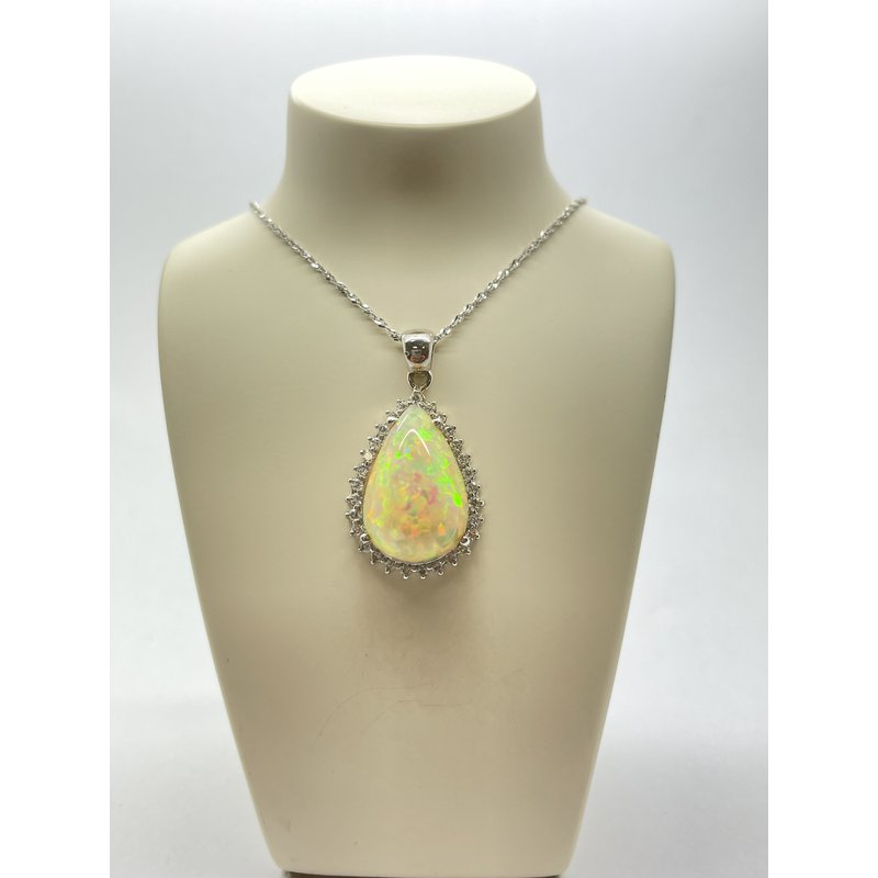 Jewelry Couture Exclusives Opal and Diamond Pendant
