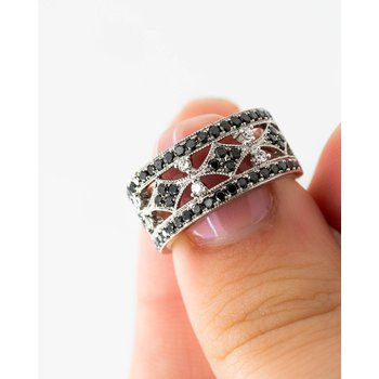 Victorian Style Black Diamond Band