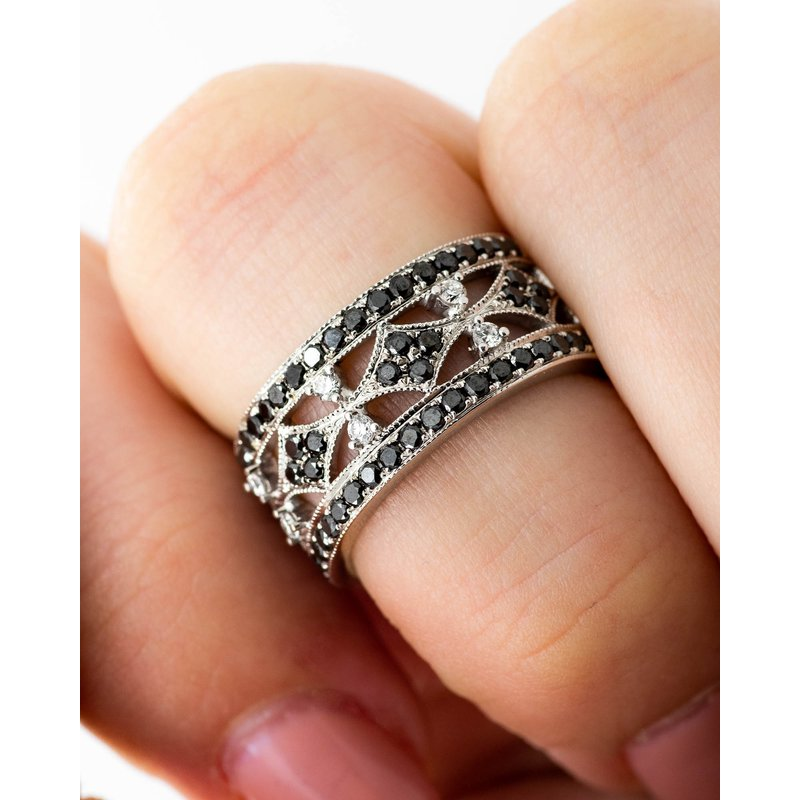 Jewelry Couture Exclusives Victorian Style Black Diamond Band