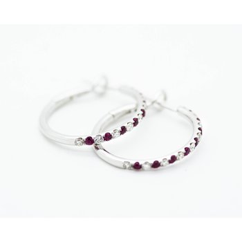 White Gold Diamond and Ruby Hoops