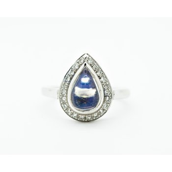 Teardrop Moonstone Diamond Ring
