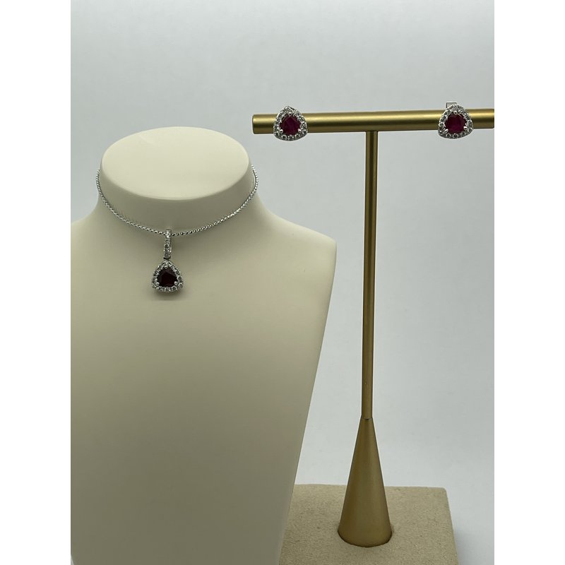 Jewelry Couture Exclusives Ruby and Diamond Necklace and Studs Gift Set