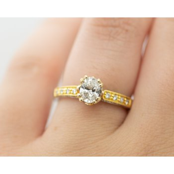 Two Toned Oval Solitaire Engagement Ring