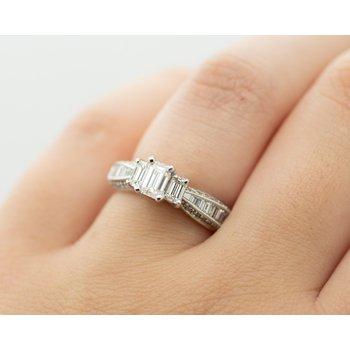 3-Stone Emerald Diamond Engagement Ring