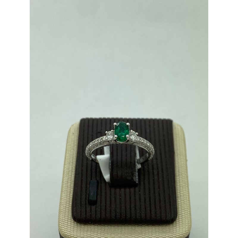 Jewelry Couture Exclusives Oval Emerald and Diamond Ring